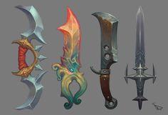 Blades 01 by ~suburbbum on deviantART - concept art Prop Design, Game Design, Cosplay Weapons, Hand Painted Textures, Sword Design, Game Props, Modelos 3d, Weapon Concept Art, Fantasy Weapons