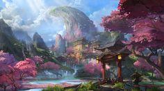 trumble on fantasy Fantasy Art Landscapes, Fantasy Landscape, Landscape Art, Watercolor Landscape, Landscape Paintings, Landscape Concept, Landscape Design, Fantasy Concept Art, Fantasy Artwork