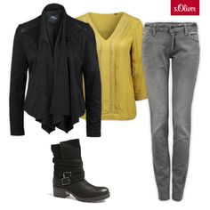 Check out 1 blouse - 3 styles #boots #jacket #grey