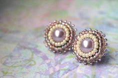 arcoiris / Violet dots Gemstone Rings, Dots, Gemstones, Earrings, Handmade, Jewelry, Stitches, Ear Rings, Stud Earrings