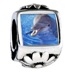 Smiling Dolphin Photo Flower Charms  Fit pandora,trollbeads,chamilia,biagi,soufeel and any customized bracelet/necklaces. #Jewelry #Fashion #Silver# handcraft #DIY #Accessory