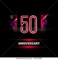 50 Years Anniversary vector logo design using neon style with flare ornament isolated on dark background
