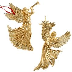Holiday Lane Set of 2 Gold Angel Ornaments ($16) ❤ liked on Polyvore featuring home, home decor, holiday decorations, no color, holiday lane ornaments, holiday lane, gold ornaments, gold home decor and angel ornaments