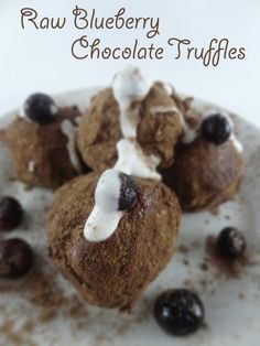 Raw Truffles of the Blueberry Chocolate Variety - Healthy, Delicious, Quick to Make and best of all....CHOCOLATE!!!!
