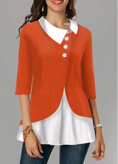 Womens Casual Tops Faux Two Piece Turndown Collar Button Detail Blouse Trendy Tops For Women, Blouses For Women, Women's Blouses, Stylish Tops, Casual Tops, Plus Size Tops, Plus Size Women, Orange Mode, Fall Shirts