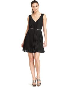 Nine West Dress, Sleeveless Belted Pleated - Womens Bridesmaid Dresses - Macy's