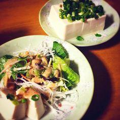 ふっふっふー(。-_-。)  今日の夕食はー、豆腐のサラダ+餅+お魚のソーセージ。……以上‼︎笑笑 - 44件のもぐもぐ - 豆腐サラダ by cake1921