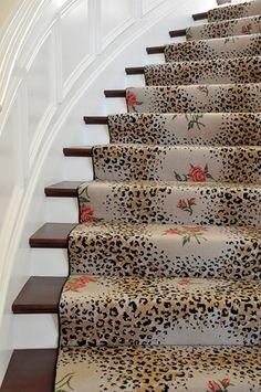 Animal print & floral stair runner