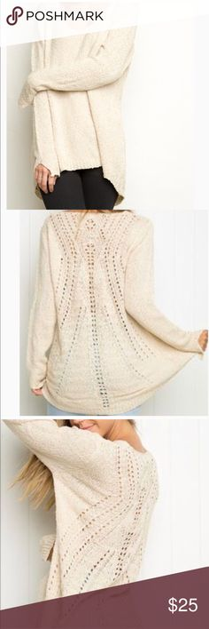 Brandy Melville Jordan wool blend knit sweater M/L Beautiful Brandy Melville cream color wool blend knit oversized pullover fits M/L. Soft, comfy and beautiful. Lightly pre-loved. Brandy Melville Tops Tunics