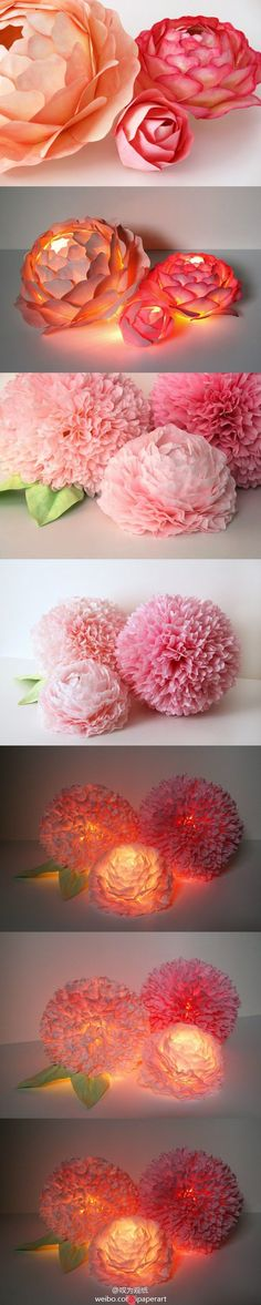 Paper Flower Centerpiece with LED Lighting—What a beautiful and crafty way to…