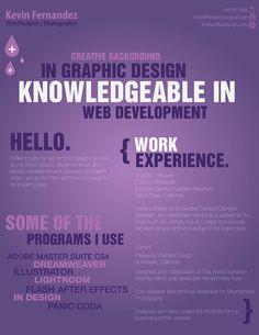 Creative resume of web designer and photographer, Kevin Fernandez.