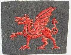 The Divisional Recognition Flash for the 38th (Welsh) Division during WWI. The division was made up of units from across Wales but 113th Brigade was made up of RWF Service Battalions.