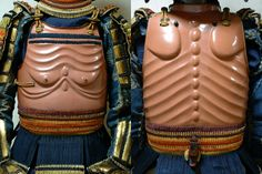 "Nio dou, one of the rarest styles of samurai armor crafted during the Edo Period, named after the Nio Guardian figures in Japanese temples. There were a number of meanings behind this style. One being it's close association with buddhism. The dou is embossed to resemble the emaciated torso of a starving monk or old man. These are also called ""gakihara dou"", after the starving ghosts of buddhist hell, another example is housed in the Tokyo National Museum."