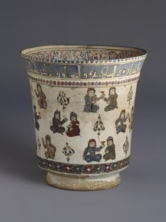 Name:  Beaker  Place of creation: Iran  Date: Early 13th century  Material: faience  Technique:  painted with enamels  Dimension:  h. 11,5 cm