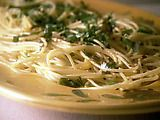 Spaghetti with garlic, olive oil, and red pepper flakes. Loved it while in Rome, and then found Giada's easy recipe. love it!