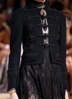 Vintage military styleblack duffle jacket details atValentinoMirabilia Romae Fall Winter 2015 Haute Couture PFW FW15 HC *LoveIt.