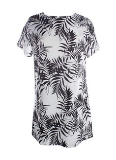 Lucy Love Black & White Palm Print Dress w/ Short Sleeves