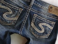 Buckle Silver Jeans Suki Thick Stitch Pocket Mid Rise Dark Wash ...