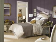 Experts forecast the top home design trends for 2014. Exclusive Plum bedroom that is a purple hue. Accented with white and gold. Love the pillows and gold mirror!