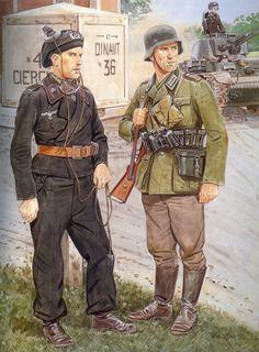 Tyske soldater I starten af krigen et sted I Belgien 1940, panser og infanteriet I samme arbejde