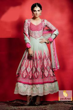 Pavitraa Flamboyant Grey and Pink Embroidery Salwar Kameez more..