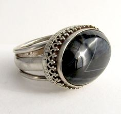 Fabulous Black Sardonyx and Recycled Sterling Silver Ring, via Etsy.