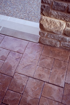 SantaFe style stamped concrete for that terra cotta look! Hardwood Floors, Flooring, Stamped Concrete, Terracotta, Tile Floor, Porch, New Homes, House Ideas, Decor