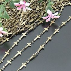 Antique Bronze Cross Chain Necklace Chain Handmade by peahenLee, $4.85
