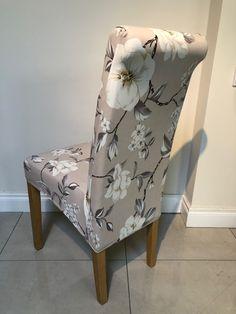 Dark Cream with Grey Floral Pattern Chair Cover Dining Chair Covers, Dining Chairs, Patterned Chair, Accent Chairs, Cream, Dark, Medium, Floral, Furniture