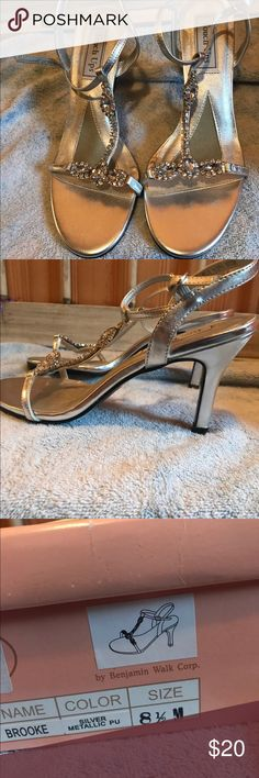 Metallic crystal heels BEAUTIFUL CRYSTAL METALLIC HEELS! With box!   🚨 worn one time for 3 hours!  🚨 adjustable strap  🚨 perfect for weddings or prom! Shoes Heels