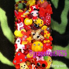 iPhone 4/4s decoden case red/yellow kawaii by GrapefruitCrafts, $65.00