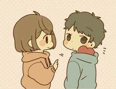Sticker obediently – LINE stickers Chibi Cat, Cute Chibi, Anime Chibi, Kawaii Anime, Anime Art, Chibi Couple, Anime Love Couple, Cute Anime Couples, Kawaii Stickers