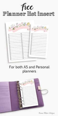 cute and FREE planner list inserts