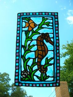 Seahorse fish nautical stained glass window by windows2thesoul, $8.00
