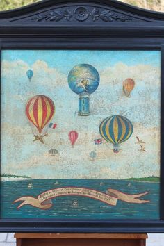 Antique French HOT AIR BALLOON Painting Carved Wood Frame V.P. Lemoine-Benoit