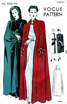 1930s Vintage Vogue Cape Pattern 8208 - RARE - Beautiful Evening Length with or without Hood - Size Medium
