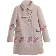 I Pinco Pallino Pink Wool & Cashmere Embroidered Coat. So girly girl. Perfect for a princess. Pink And Green, Bright Pink, Pale Pink, Sugar And Spice, Occasion Dresses, Toddler Girl, Floral Design, Casual Dresses, Petite Fille