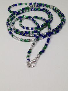 Handmade necklace seed bead necklace Seahawks by JewelryByTerriB