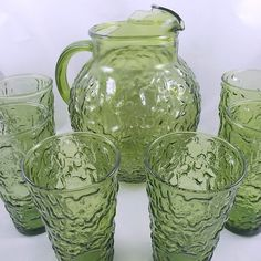 Vintage Anchor Hocking Lemonade Set Lido/Milano Crinkle Texture Pattern ~ Round Ball Pitcher with 6 ~ 10 Ounce Tumblers