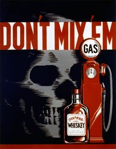 This WPA Federal Art Project poster by artist Robert Lachenmann warns of the dangers of drinking and driving, c. 1937.
