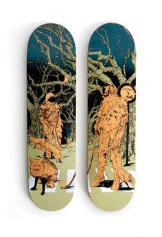 Skateboard designs by Shan Jiang for the Antwerp skate shop Lockwood.