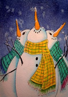 paintings of snowmen images | Original Small Format Art - Carolynn McDade: Winter's Coming!
