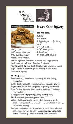 Dream Cake Squares, the mundane and the magickal. Spelt Recipes, Cake Mix Recipes, Baking Recipes, Wicca Recipes, Kitchen Witchery, Kitchen Magic, Dream Cake, Retro Recipes, Kitchen Recipes