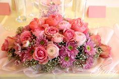 Guty svadobná výzdoba ružová aranžmán