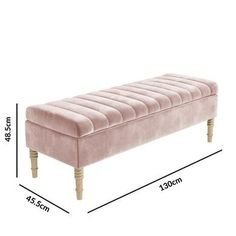 Safina Striped Top Ottoman Storage Bench in Baby Pink Velvet - BuyItDirect. Bedroom Ottoman, Ottoman Decor, Storage Ottoman Bench, Bedroom Storage Bench, Home Room Design, Master Bedroom Design, Home Interior Design, Bed Headboard Design, Headboards For Beds