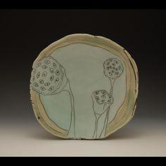 Julie Wiggins plate with lotus pod drawings