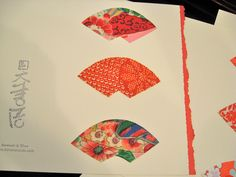 Silk fabric stickers - Make your own cards -  Kimono silk fans - 12 Japanese fans - easy peel off by KIMONOCARDS on Etsy