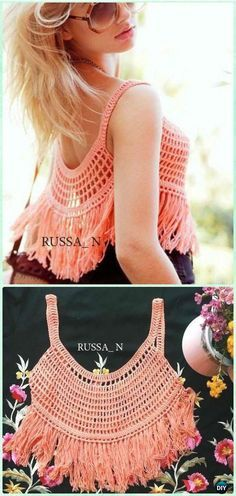 "Crochet Fringed Piper Singlet Top Free Pattern - Crochet Women Crop Top Free Patterns [ ""Crochet Women Summer Crop Top Free Patterns: Collection of Girl and Women Summer Tops, Fringed Tops, Beach Wear, Bra Tops"", ""Rad w ratty tshirt or turtleneck"", ""This would be cute with a pencil skirt this summer!"", "" I"