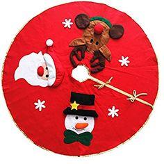 ZKOO Faldas del árbol de Navidad Decoracion Arbol de Navidad Alfombra para Pies de árbol de Navidad Rojo Diámetro: 106CM