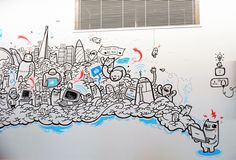 Facebook London Office Murals on Behance Doodle Wall, Doodle Art Drawing, Wall Drawing, People Coloring Pages, Cute Coloring Pages, Animal Coloring Pages, Doodle Art Posters, Doodle Art Journals, Wall Paint Patterns